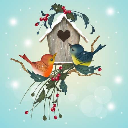 little bird house in winter Stock Photo