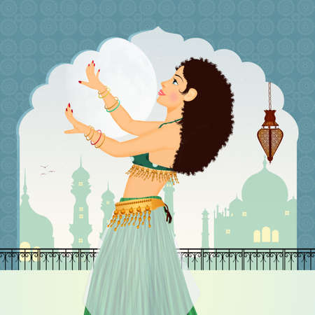 illustration of Oriental veils dances