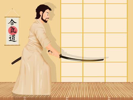 man samurai with sword