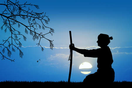 illustration of samurai with sword