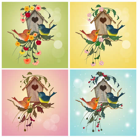 illustration of bird house in the four season Stock Photo