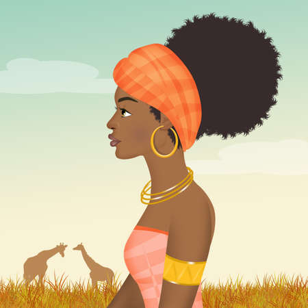 illustration of African woman