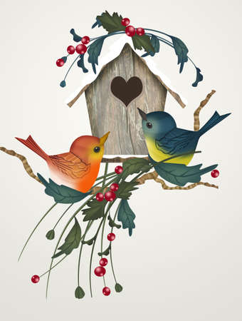 illustration of bird house in winter