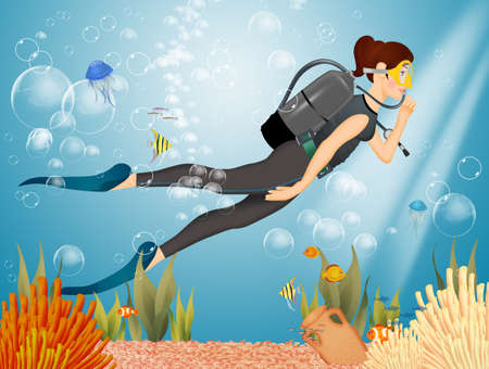 illustration of woman is diving Stock Photo