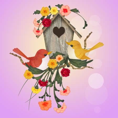 illustration of bird house Stock Photo