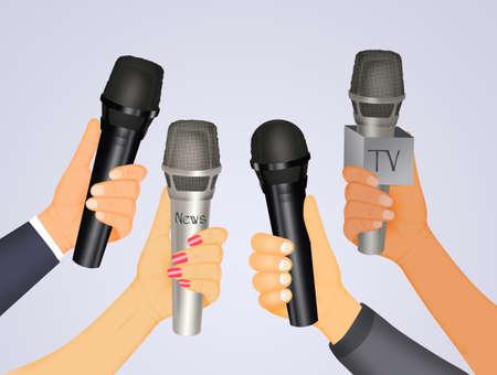illustration of journalist microphones