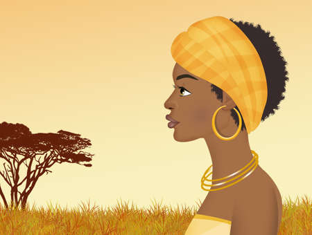 illustration of black woman Imagens