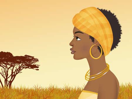 illustration of black woman Stock Photo