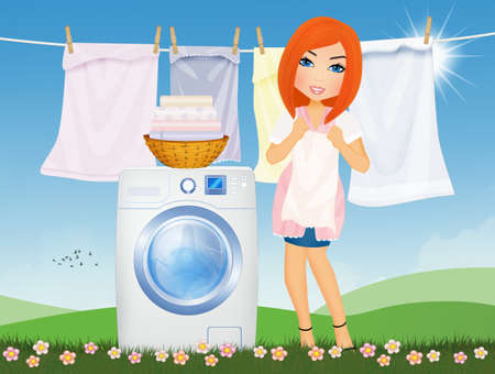 woman does laundry with washing machine in the outdoor lawn