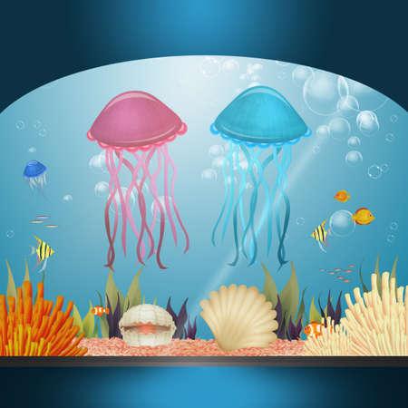 illustration of jellyfishes in the aquarium 版權商用圖片