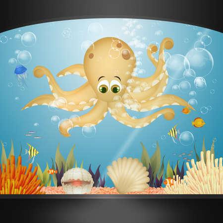 illustration of octopus in the aquarium 版權商用圖片