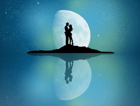 couple reflected in the moonlight Stockfoto - 123544432