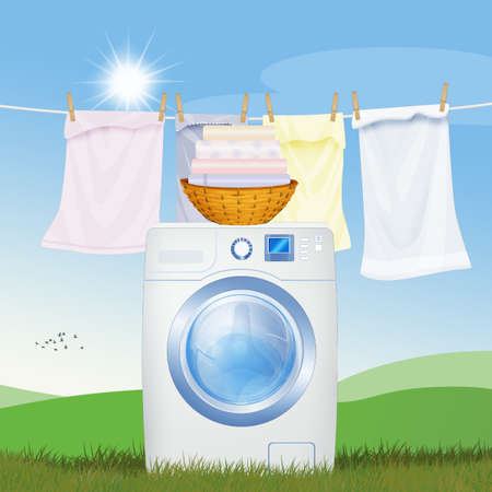 illustration of washing machine in the outdoor lawn Stockfoto