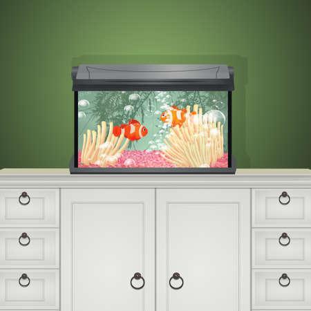 illustration of saltwater aquarium Stock Photo