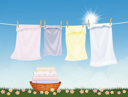 clean laundry lying in the sun Stockfoto
