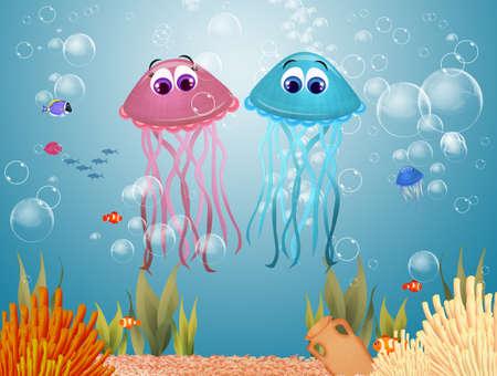 funny illustration of jellyfishes to the sea 版權商用圖片