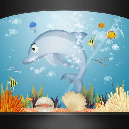 illustration of dolphin in the aquarium 版權商用圖片