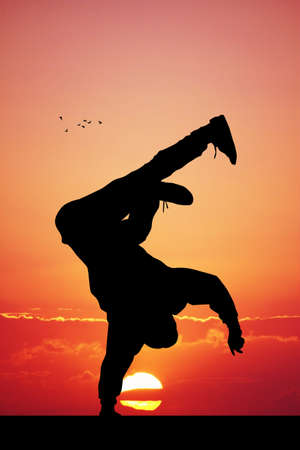 illustration of breakdance performer at sunset Stock Photo