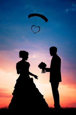 illustration of Bride and groom at sunset