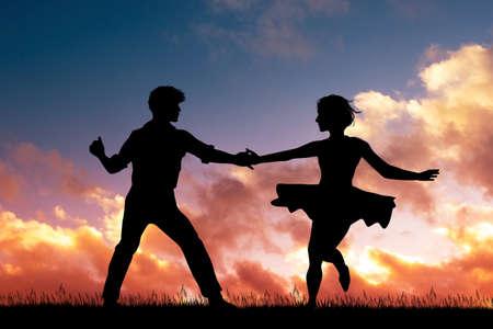 illustration of rockabilly dance at sunset Stockfoto - 124645632