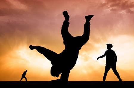 illustration of hip hop performer at sunset