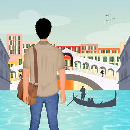 man in Venice 스톡 콘텐츠