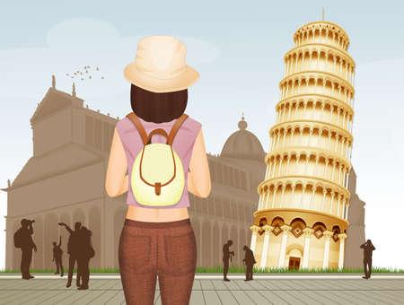 tourist girl visiting Pisa