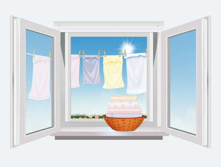 open window overlooking the clothes hanging Stock Photo