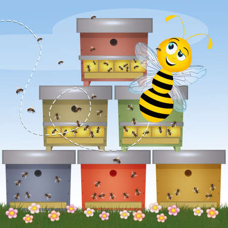 illustration of funny bee and beehive Stock Photo