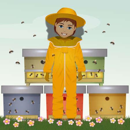 illustration of beekeeper man
