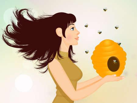girl saves the bees Banco de Imagens