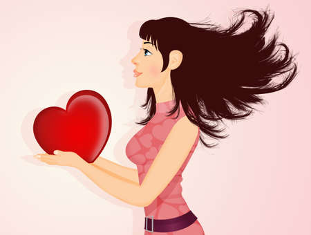 girl with heart in her hand