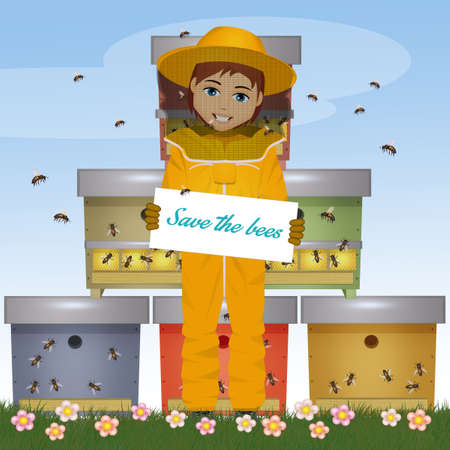 illustration of beekeeper man with card save the bees