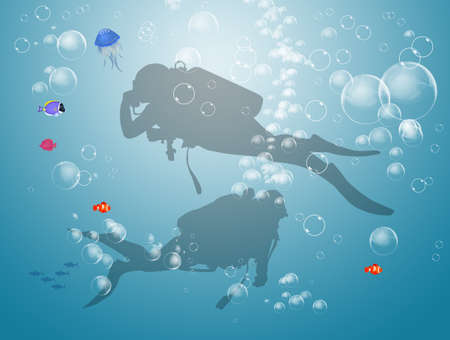 illustration of people go diving Stock Photo