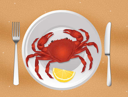 illustration of crab in the plate Stok Fotoğraf