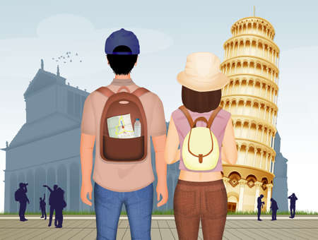 couple of tourists visit Pisa