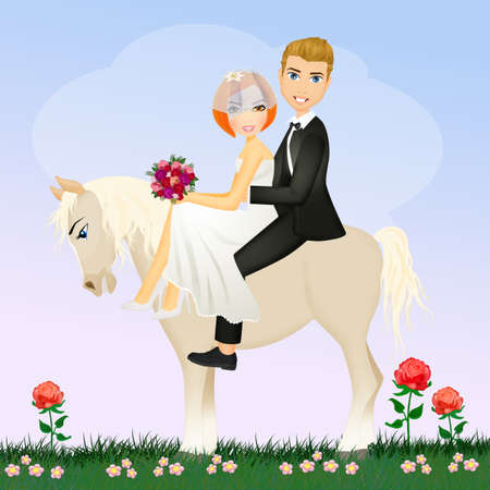 bride and groom on white horse Stock Photo