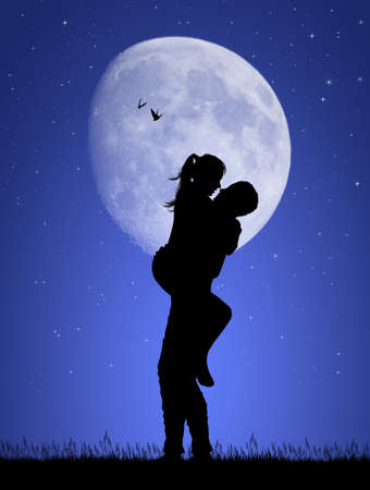 illustration of boyfriends kissing in the moonlight Banque d'images