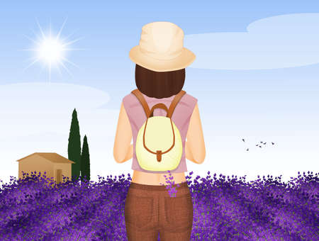 illustration of girl in Provence Banque d'images - 125551009