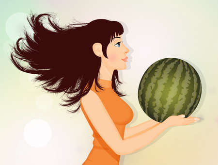 woman with watermelon Stockfoto