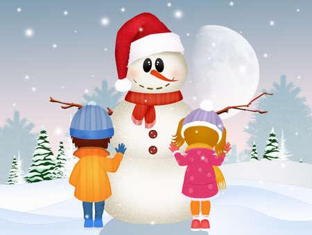 children make snowman Standard-Bild - 125551032