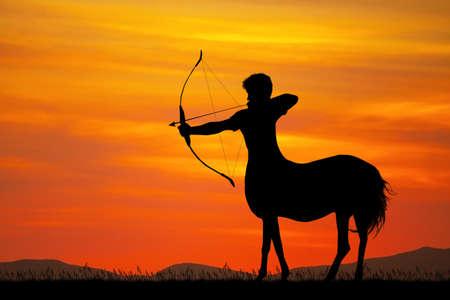 Sagittarius silhouette at sunset Stockfoto