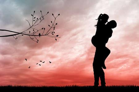 illustration of boyfriends kissing at sunset Foto de archivo