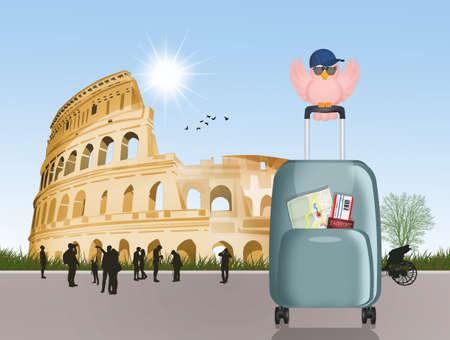 trip to Rome to visit the Colosseum Banco de Imagens