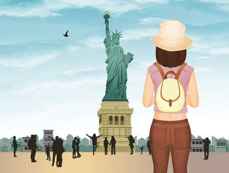 girl traveling in New York