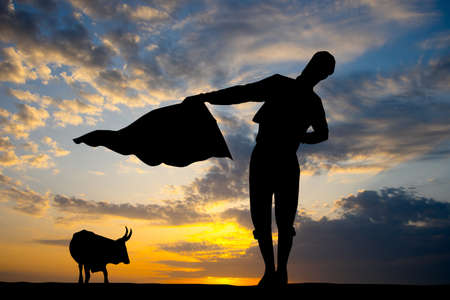 illustration of bullfighter at sunset Stock Photo