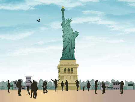 illustration of the statue of liberty Standard-Bild - 126911746