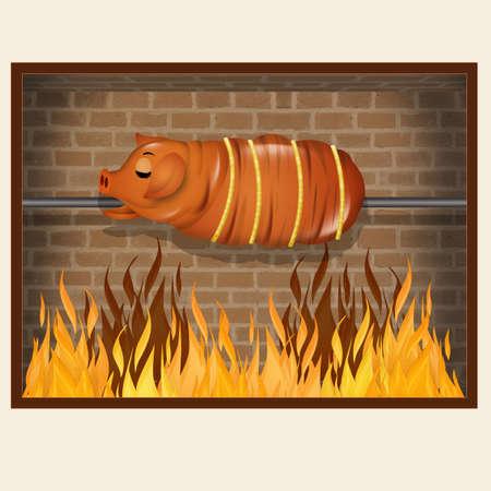 funny illustration of roast pork Фото со стока