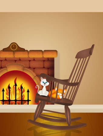 illustration of rocking chair in front of the fireplace