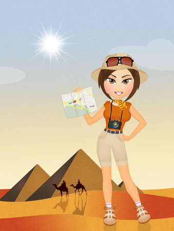 tourist girl in Egypt 写真素材